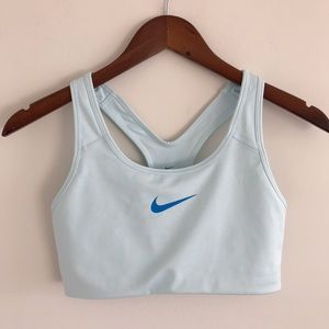 Nike Pro Classic Swoosh Baby Blue Sports Bra Med